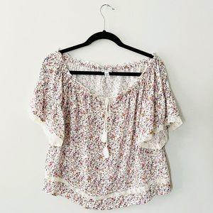 AMERICAN EAGLE Floral Crochet Peasant Top